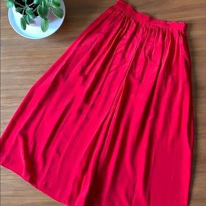 Vintage Silk Pleated Midi Skirt Ruby Red Size M